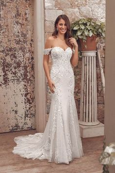Style Amalie: Lace Fit and Flare with Detachable Off the Shoulder Straps Fit And Flare Wedding Dress, Dream Wedding Dresses, Designer Wedding Dresses, Wedding Gowns, Tulle Ball Gown, Tulle Balls, Ball Gowns, Bridal Collection, Dress Collection
