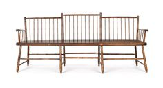 "Pennsylvania Windsor step rodback bench, ca. 1810, with bamboo turnings, 78"" l."