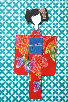 Mikano Yuri: Red kimono with vibrant watercolours