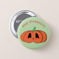 Squat Kawaii Pumpkin Cute Halloween Jack O'Lantern Pinback Button - accessories accessory gift idea stylish unique custom