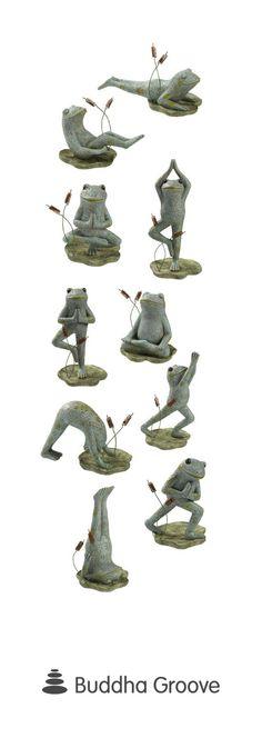 Garden Yoga Frogs, Set of 10 Figurines