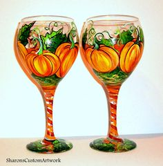 Hand Painted Wine Glasses 5 Orange  Pumpkins with Leaves and Vine Set of 2 - 20 oz. Wine Goblets Glassware Thanksgiving Table Ware Halloween by SharonsCustomArtwork on Etsy https://www.etsy.com/listing/205187334/hand-painted-wine-glasses-5-orange