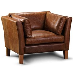Barkby Brown Leather Armchair With Leather Cushion On Side And Wooden Legs