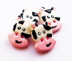 clay cow buttons