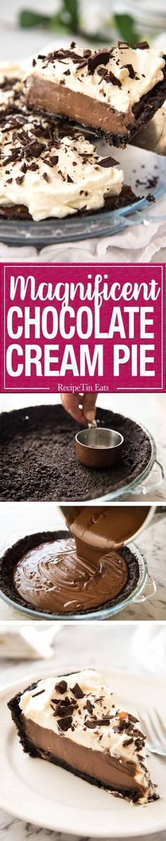 A magnificent Chocolate Cream Pie with a biscuit base, a soft and creamy custard-like filling and topped with clouds of cream. http://www.recipetineats.com/chocolate-cream-pie