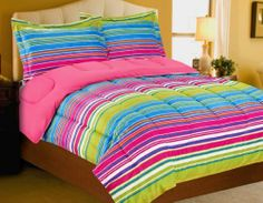 Magical Stripes Micro Mink Pink/Green/Blues Twin Comforter & Sham by Chic Home. $42.99. Bring out your funky side with the Magical Stripes collection. Beautiful and extremely soft micro mink velvet style face Twin Comforter 66 x 86One standard shamColor: Pink, Blues & Green100% Polyester Machine washable