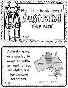 Australia Booklet (A Country Study!) Australia Booklet (A Country Study!)-- Use during social studies units about countries around the world! Teaching Geography, World Geography, Gcse Geography, Summer School, Pre School, Australia For Kids, Australia Crafts, Around The World Theme, World Thinking Day