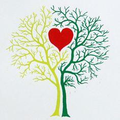 Tree of Love,  linocut, hand printed, wall art, woodland print. €80.00, via Etsy.
