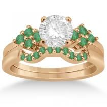 Allurez Green Emerald Engagement Ring & Wedding Band 18k Rose Gold (0.40 ct)