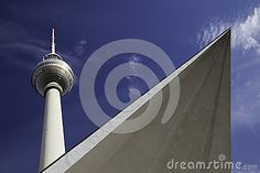 View of the TV Tower in the city center of Berlin from Alexander Platz.
