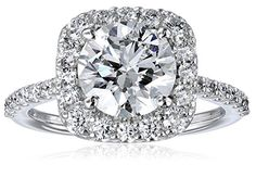GIA-Certified 14k White Gold Diamond Halo Ring (2 1/2 cttw, G-H Color, SI1-SI2 Clarity)