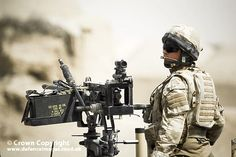 A soldier of 63 Squadron (Queens Colour Squadron) RAF Regiment mans a calibre gun whilst on patrol around Kandahar Airfield in Afghanistan. Get the latest RAF news at UK Forces News © Crown Copyright 2020