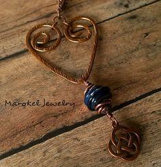 Blue Heart Necklace Lampwork Glass Copper Open Heart by marokel