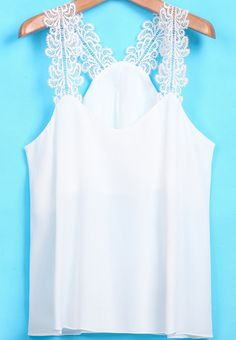 To find out about the White Lace Spaghetti Strap Chiffon Vest at SHEIN, part of our latest Tank Tops & Camis ready to shop online today! Chemises Sexy, Dress Outfits, Fashion Dresses, Crochet Tunic, Baby Girl Dresses, Lace Tops, Casual Tops, Diy Clothes, Blouse Designs