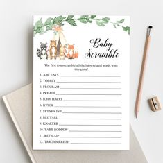 Editable Baby Scramble Baby Scramble Game Baby Shower   Etsy Who Knows Mommy Best, Paper Mobile, Virtual Baby Shower, Nursery Rhymes Games, How Many Kids, Baby Shower Items, Card Sizes, Baby Shower Invitations, Etsy