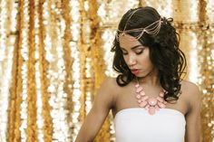 A groovy gold headchain is a subtle, elegant touch.