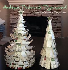 Christmas Trees DIY'd from Antique Postcards