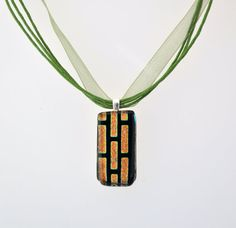 Black and gold necklace with green ribbon by GeckoGlassDesign, $23.00