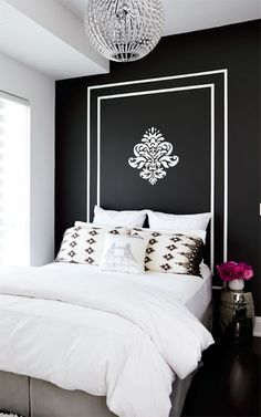 #black and #white #painted #headboard #wall in the #bedroom (photo from Style At Home) #modern #interior #design #decor
