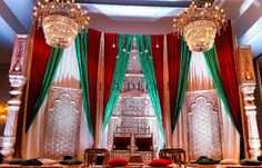 Fabric mandap with gold screens