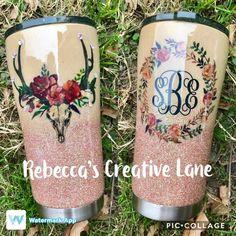 Watercolor Deer and Wreath with monogram Tumbler Ozark YETI Custom Tumblers, Vinyl Tumblers, Personalized Tumblers, Glitter Cups, Glitter Tumblers, Crafty Projects, Glitter Projects, Tumblr Cup, Custom Yeti