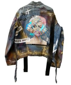 Painted Denim Jacket, Painted Jeans, Painted Clothes, Dope Fashion, Denim Fashion, Custom Clothes, Diy Clothes, Custom Denim Jackets, Punk Jackets