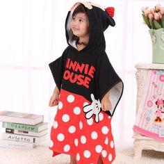 Poncho rouge enfant Minnie