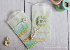 cute idea for cards or invites!  love the washi tape and glassine bags together.