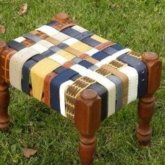 Vintage Cherry Leather BeltArt Footstool made with Recycled Belts -...... | BeltArt - Earth Friendly on ArtFire