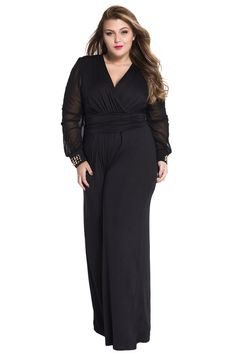 11d8701ba8fc Combinaisons Femme Soiree Noir Grande Taille Embelli Maille Longue Manches