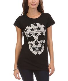 Urban X Black Star Skull Crewneck Tee by Urban X #zulily #zulilyfinds