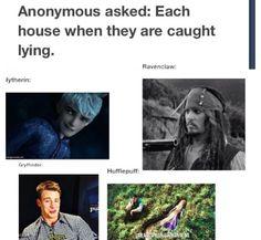 When Hogwarts houses are caught lying. Hufflepuff… hahahahaha!
