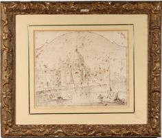 View of Santa Maria della Salute, drawn within an arch, ink wash on paper, 6-1/2 x 8 in.