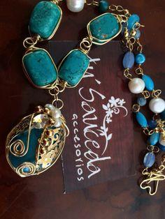 ccc78e6ead99 Turquesa collar chapa de oro hecho a mano perla cultivada perla de río  alambrado especial joyería mexico Sonora Contacto 6444089134 Oficina  (644)4131904 ...