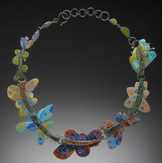 Bonnie Bishoff and J. Syron (Bonnie Bishoff J. Polymer Clay Necklace, Polymer Clay Beads, Jewelry Art, Jewelry Accessories, Jewellery, Philadelphia Museum Of Art, Wire Wrapped Jewelry, Handmade Necklaces, Beaded Necklace