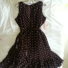 Brown short sleeve Dress, w/ Polka Dots Sweet & flirty, Brown Dress with Cream Polka Dots! Ruffles on bottom and Ribbon tie belt. Length below knee. Fully Lined. Easy care polyester. Very flattering style!  Would look great with my brown sling backs! Dress Barn Dresses