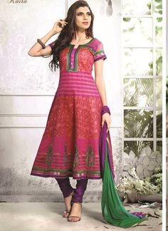 Shop Online Multi Colour Chanderi Cotton Silk #AnarkaliSuits @Chennaistore.com