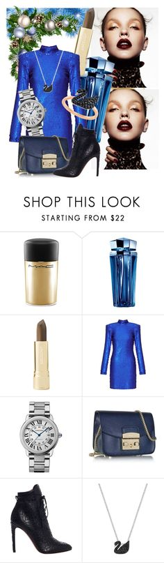 """Last Friday birthday"" by ghazale ❤ liked on Polyvore featuring MAC Cosmetics, Thierry Mugler, Axiology, Miss Selfridge, Cartier, Furla, Alaïa and Swarovski"