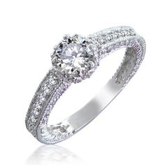 Vintage Cubic Zirconia Pave Engagement Sterling Silver Ring .75ct