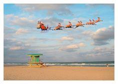 """Happy Holidays"" Santa & Sleigh/Beach - 10 cards and envelopes | $14.00 Shop Now: http://www.palmpressinc.com/product/santa-sleighbeach/"