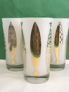 Fred Press White Frosted Gold Fish Vintage Glassware Set Of 3 Collectible  #FredPress