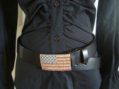 Absolutely Fresh Womens Belt Rhinestone Bling U.S Flag Buckle Size ML..$7.99