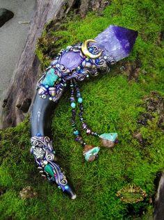 Image of FAERY CRYSTAL SONG - Amethyst Magick Crystal Wand Ametrine Chrysoprase Horn Pagan Altar Art