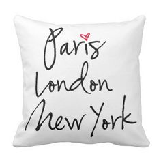 Paris, London, New York Throw Pillow