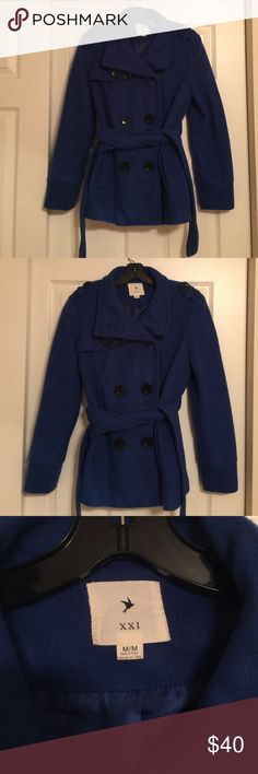 Flawless Blue Peacoat Jacket Gorgeous Peacoat! Blue exterior w/ blue silky interior. This coat is basically brand new! No marks, stains, tears! This jacket is perfect for you! Forever 21 Jackets & Coats Pea Coats