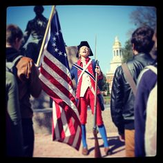 Dr. Julie Sweet goes the extra mile to teach her Baylor students about the American Revolution. (at Judge Baylor Statue)