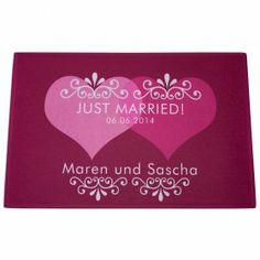 Personalisierte Fußmatte Just Married mit Namen und Hochzeitsdatum des Brautpaares