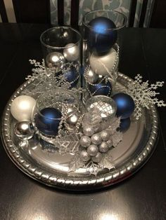 Christmas is coming, and now you must be busy with decorating your home for this big holiday. We want to enjoy a lot of delicious food at Christmas, so the Christmas Table Centerpieces Decoration is very necessary. A good Christmas table Centerpieces Silver Christmas Decorations, Christmas Table Centerpieces, Winter Wonderland Decorations, Christmas Bathroom Decor, Wedding Decorations, Xmas Table Decorations, Blue Centerpieces, Centerpiece Flowers, Diy Decoration