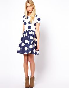 ASOS | ASOS Skater Dress In Reverse Spot Print at ASOS