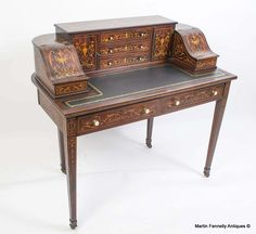 Antique Carlton House Desk Edwards and Roberts Circa 1900 - Read more on The Website - Thanks http://www.fennelly.net/Antiques/Newest%20Listings%20-%20Art%20and%20Antique%20Gallery%20Dublin/984%20Antique%20Carlton%20House%20Desk%20Edwards%20and%20Roberts%20Circa%201900.aspx